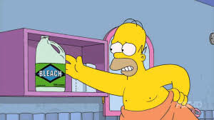Homer reaching for bleach